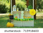wooden lemonade stand in park | Shutterstock . vector #715918603