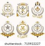 set of old style heraldry... | Shutterstock .eps vector #715922227