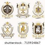 set of old style heraldry... | Shutterstock .eps vector #715924867