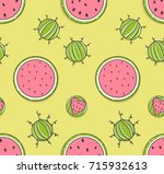 seamless pattern with funny... | Shutterstock .eps vector #715932613