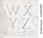 ancient roman letters chiseled... | Shutterstock . vector #715934587