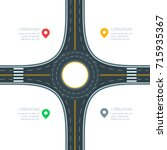 roundabout road junction ... | Shutterstock .eps vector #715935367