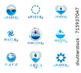 sea wave splash vector logo.... | Shutterstock .eps vector #715937047
