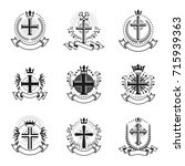 christian crosses emblems set.