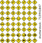 various warning traffic signs | Shutterstock .eps vector #715941847