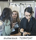 Small photo of NEW YORK, NY - September 11, 2017: Luna Bijl prepares backstage for the Zadig & Voltaire Spring Summer 2018 fashion show during New York Fashion Week Women's