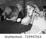 Small photo of NEW YORK, NY - September 11, 2017: Chayse McMullan prepares backstage for the Zadig & Voltaire Spring Summer 2018 fashion show during New York Fashion Week Women's