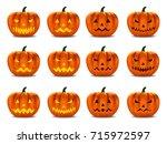 set pumpkins for halloween | Shutterstock .eps vector #715972597