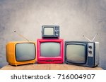 retro old television receivers... | Shutterstock . vector #716004907