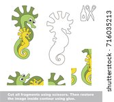 use scissors and glue and... | Shutterstock .eps vector #716035213