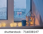 winter decor with candles and... | Shutterstock . vector #716038147