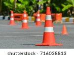 traffic cones in driving school   Shutterstock . vector #716038813