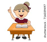 girl studying with school table ... | Shutterstock .eps vector #716039497