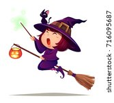 halloween flying little witch.... | Shutterstock .eps vector #716095687