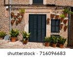 old european street decorated... | Shutterstock . vector #716096683