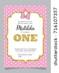 first birthday invitation for... | Shutterstock .eps vector #716107357