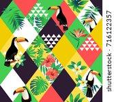 exotic beach trendy seamless... | Shutterstock .eps vector #716122357