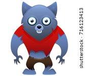 werewolf cute cartoon character ... | Shutterstock .eps vector #716123413