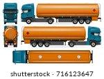 truck with fuel tank vector...   Shutterstock .eps vector #716123647