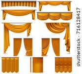 curtains and draperies interior ... | Shutterstock .eps vector #716128417