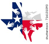 hands helping texas vector... | Shutterstock .eps vector #716131093