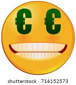 emoji with two euro sign eyes... | Shutterstock .eps vector #716152573