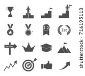 icon set for business success ... | Shutterstock .eps vector #716195113