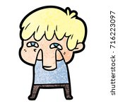 cartoon curious man   Shutterstock .eps vector #716223097