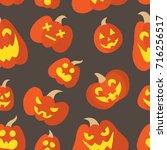 halloween pumpkin pattern | Shutterstock .eps vector #716256517