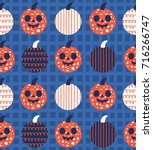 fun halloween seamless pattern... | Shutterstock .eps vector #716266747