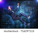 visual reality concept.young... | Shutterstock . vector #716297113
