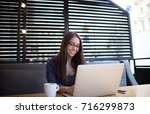 woman skilled content writer...   Shutterstock . vector #716299873