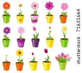 spring flowers in pots ... | Shutterstock .eps vector #71631664