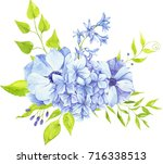 watercolor  bouquets  blue... | Shutterstock . vector #716338513
