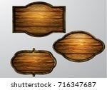 wooden signs  vector icon set | Shutterstock .eps vector #716347687