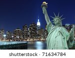 manhattan skyline and the... | Shutterstock . vector #71634784