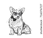 a cute puppy with glasses and a ... | Shutterstock .eps vector #716376727