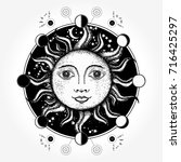 medieval sun tattoo art. moon...   Shutterstock .eps vector #716425297