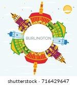burlington skyline with color... | Shutterstock .eps vector #716429647