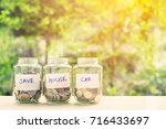 saving money for house and car... | Shutterstock . vector #716433697