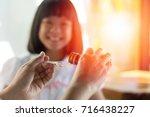 happy asia little child girl... | Shutterstock . vector #716438227