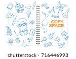 notebook with kid boy hand...   Shutterstock .eps vector #716446993
