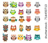 collection of owls logo design | Shutterstock .eps vector #716450713
