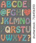 floral colorful font. artistic... | Shutterstock .eps vector #716456353