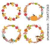 set of isolated autumn frames   ... | Shutterstock .eps vector #716471563
