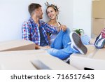 moving in a new house.... | Shutterstock . vector #716517643