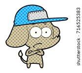 cartoon unsure elephant wearing ...   Shutterstock .eps vector #716525383