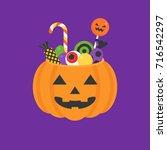 jack o lantern bowl of... | Shutterstock .eps vector #716542297