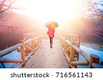Woman With Colorful Umbrella I...