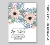rose wedding invitation card... | Shutterstock .eps vector #716576863